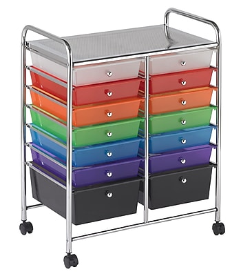 Offex Multipurpose 14 Drawer Mobile Storage Organizer, Assorted Colors (OF-ELR-20101-AS)