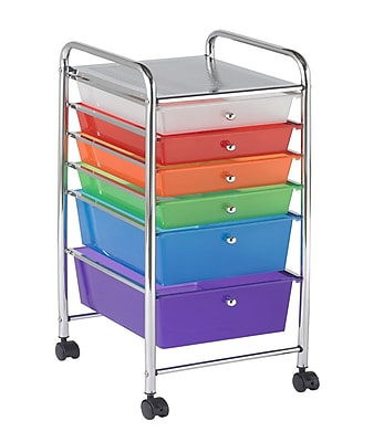 Offex Multipurpose 6 Drawer Mobile Storage Organizer, Assorted Colors (OF-ELR-20102-AS)