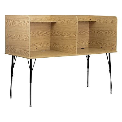 Offex Double Wide Study Carrel with Adjustable Legs and Top Shelf in Oak Finish (OF-M6222-OA-DBL)
