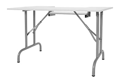 Offex Folding Multipurpose Sewing Table, Silver/White (OF-13373)