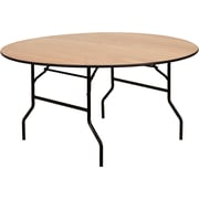 Offex 60'' Round Wood Folding Banquet Table with Clear Coated Finished Top (OF-Y-WRFT60-TBL)