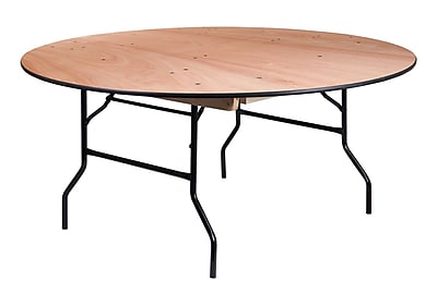 Offex 66'' Round Wood Folding Banquet Table with Clear Coated Finished Top (OF-Y-WRFT66-TBL)
