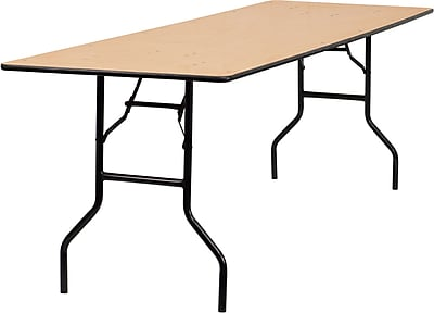 Offex 30'' x 96'' Rectangular Wood Folding Banquet Table with Clear Coated Finished Top (OF-YT-WTFT30X96)