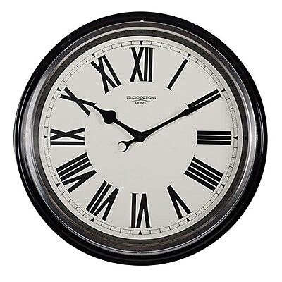 "Offex Home 19"" Traditional Metal Roman Numeral Wall Clock, Black (OF-73004)"
