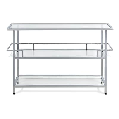 Offex Portico Bar Table, Chrome/Clear Glass (OF-71005)
