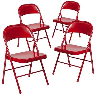Flash Furniture HERCULES Series Metal Folding Chair, Red, 4/Pk (4BDF002RED)