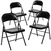 Flash Furniture HERCULES Series Metal Folding Chair, Black, 4/Pk (4BDF002BK)