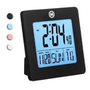"Marathon Digital Alarm Clock 3.6"" Square, Black (CL030050BL)"
