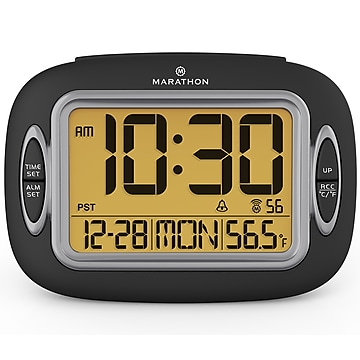 Marathon Atomic Alarm Clock, Black (CL030051BK)