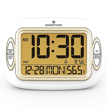 Marathon Atomic Alarm Clock, White (CL030051WH)