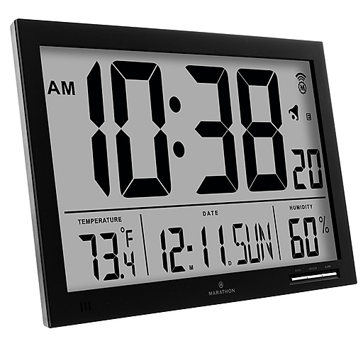 Marathon Slim Digital Wall Clock Black Cl030062bk Staples