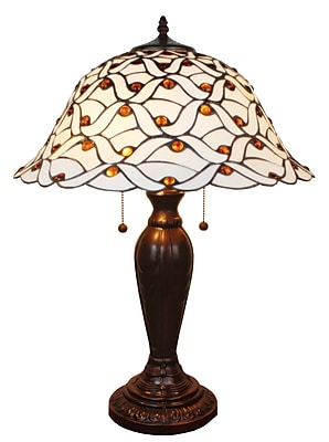 Amora Lighting Tiffany Style 2 Bulb Table Lamp, 26
