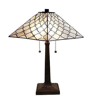 Amora Lighting Tiffany Style 2 Bulb Table Lamp, 22