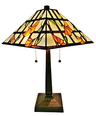 Amora Lighting Tiffany Style 2 Bulb Table Lamp, 21