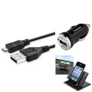 Insten 3in1 Dashboard Mount+Black Mini Car Charger for Samsung Galaxy SIII S 3 S3 S4 SIV i9500 LG Nexus 5 HTC One M7