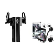 Insten Bluetooth Headset + Car Mount Phone Holder For iPhone 6 5 5S 4S / Samsung Galaxy S5 Note 4 Core Ace / Moto G E X