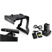 Insten Dual Battery Charger Station Dock + Mount Stand Holder For Xbox 360 Kinect Senor