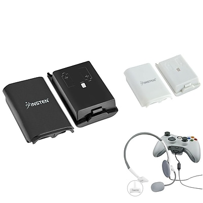 Insten Headphone Headset with Microphone + 2x Controller Battery Cover Case (Black + White) for Microsoft Xbox 360