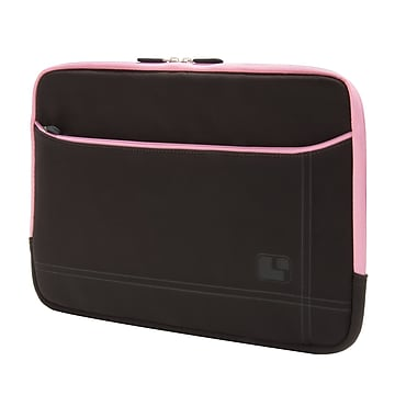 SumacLife Microsuede Bubble Protection Sleeve for 13.3 Inch Laptop, Brown/Pink (NBKLEA664)