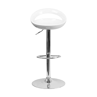 Offex Contemporary White Plastic Adjustable Height Barstool with Chrome Base (OF-TC3-1062-WH)