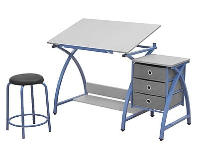 Offex Arts and Crafts Comet Center with Stool - Blue/Spatter Gray (OF-13321)
