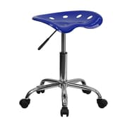 Offex Vibrant Nautical Blue Tractor Seat Barstool and Chrome Stool (OF-214A-NAUBL)