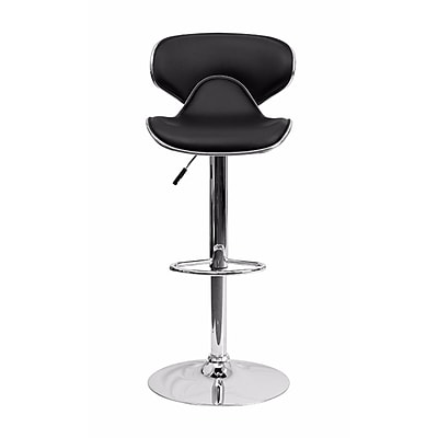 Offex Contemporary Cozy Mid-Back Black Vinyl Adjustable Height Barstool with Chrome Base (OF-DS-815-BK-GG)