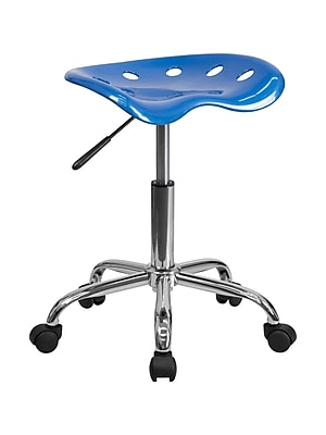 Offex Vibrant Bright Blue Tractor Seat Barstool and Chrome Stool (OF-214A-BRIBL)