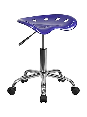 Offex Vibrant Deep Blue Tractor Seat Barstool and Chrome Stool (OF-LF-214A-DEBL)