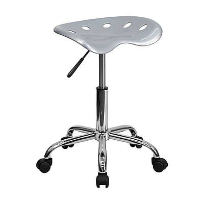 Offex Vibrant Silver Tractor Seat Barstool and Chrome Stool (OF-214A-SILVER)