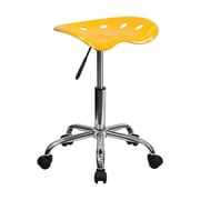 Offex Vibrant Yellow Tractor Seat Barstool and Chrome Stool (OF-214A-YELLOW)