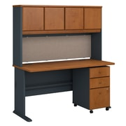Bush Business Furniture Cubix 60W Desk with Hutch and Mobile File Cabinet, Natural Cherry (SRA050NCSU)