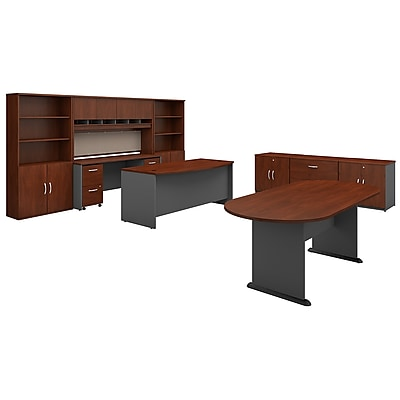 Image of Bush Business Furniture Westfield Executive Office Suite with Storage and Conference Table, Hansen Cherry (SRC100HCSU)