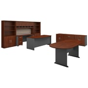 Bush Business Furniture Westfield Executive Office Suite with Storage and Conference Table, Hansen Cherry (SRC100HCSU)