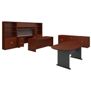 Bush Business Furniture Westfield Executive Office Suite with Storage and Conference Table, Mahogany (SRC100MASU)