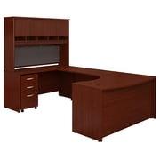 Bush Business Furniture Westfield 60W Left Handed Bow Front U Shaped Desk with Hutch and Storage, Mahogany (SRC093MASU)