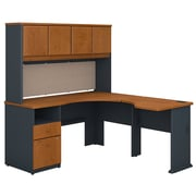 Bush Business Furniture Cubix 60W x 65D L Shaped Desk with Hutch and 2 Drawer Pedestal, Natural Cherry (SRA062NC)