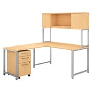 Bush Business Furniture 400 Series 60W x 30D L Shaped Desk with Hutch, Return and Mobile File Cabinet, Natural Maple (400S180AC)