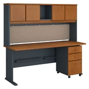Bush Business Furniture Cubix 72W Desk with Hutch and Mobile File Cabinet, Natural Cherry (SRA051NCSU)