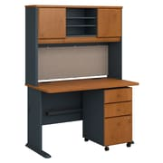 Bush Business Furniture Cubix 48W Desk with Hutch and Mobile File Cabinet, Natural Cherry (SRA049NCSU)