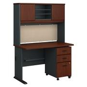 Bush Business Furniture Cubix 48W Desk with Hutch and Mobile File Cabinet, Hansen Cherry (SRA049HCSU)
