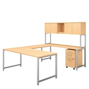 Bush Business Furniture 400 Series 72W x 30D U Shaped Table Desk with Hutch and Mobile File Cabinet, Natural Maple (400S160AC)