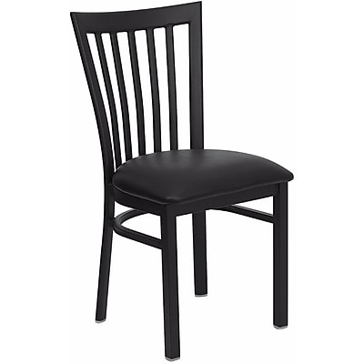 Offex Hercules Series Black School House Back Metal Restaurant Chair, Black Vinyl Seat (OF-DG6Q4BSBLKV)