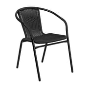 Offex Black Rattan Indoor-Outdoor Restaurant Stack Chair (OF-TLH-037-BK-G)