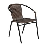 Offex Dark Brown Rattan Indoor-Outdoor Restaurant Stack Chair (OF-TH-037-DK-BN)