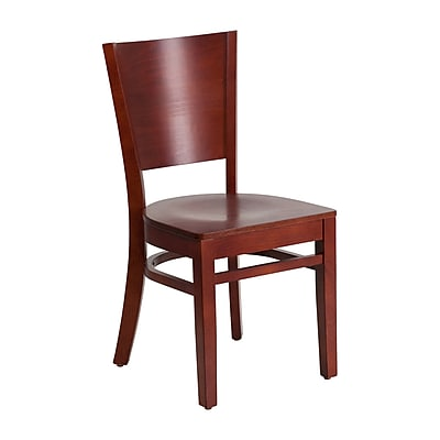 Offex Lacey Series Solid Back Mahogany Wood Restaurant Chair (OF-W94B-MA-MA)
