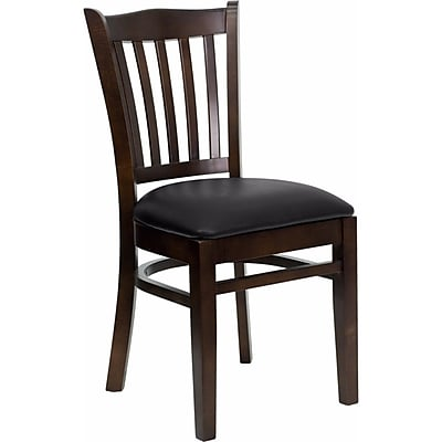 Offex Hercules Series Vertical Slat Back Walnut Wood Restaurant Chair, Black Vinyl Seat (OF-DGW8-WA-BLKV)