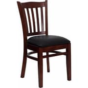 Offex Hercules Series Vertical Slat Back Mahogany Wood Restaurant Chair, Black Vinyl Seat (OF-DGW8-MA-BLKV)