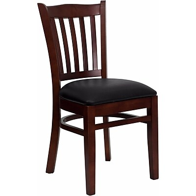 Offex Hercules Series Vertical Slat Back Mahogany Wood Restaurant Chair, Black Vinyl Seat (OF-DGW8-MA-BLKV)