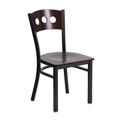 Offex Hercules Series Black 3 Circle Back Metal Restaurant Chair, Walnut Wood Back & Seat (OF-6Y2B-WAL-MTL)